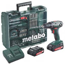 Wiertarko-wkrętarka akumulatorowa METABO BS 18 Set w walizce PVC, z ładowarką SC 60 + 2 akumulatory 2,0 Ah + 74 szt. osprzętu