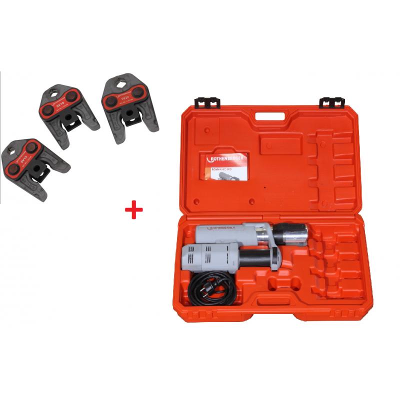 Zaciskarka elektrohydrauliczna ROTHENBERGER ROMAX AC ECO + 3 szczęki zaciskowe