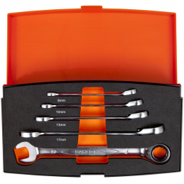 Zestaw kluczy płasko-oczkowych z grzechotką BAHCO 1RM/S5