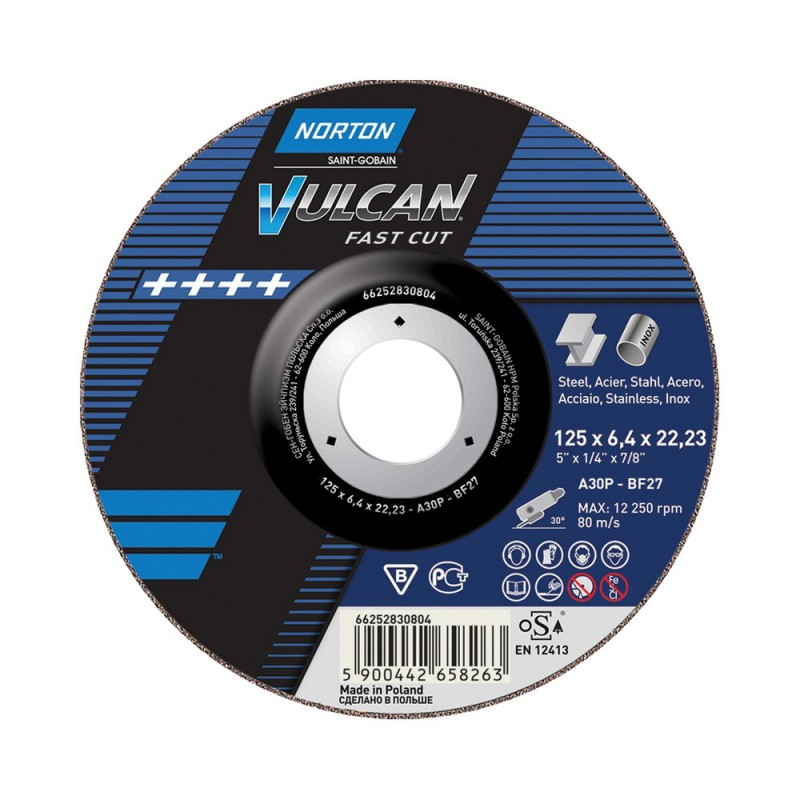 Tarcza ścierna T27 125x6,4x22,23mm NORTON Vulcan A 30 P