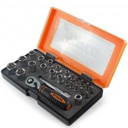 Zestaw bitów 25szt. 1/4x25mm nasadki 4-13mm tx pz ph grzechotka+adapter plastikowe etui